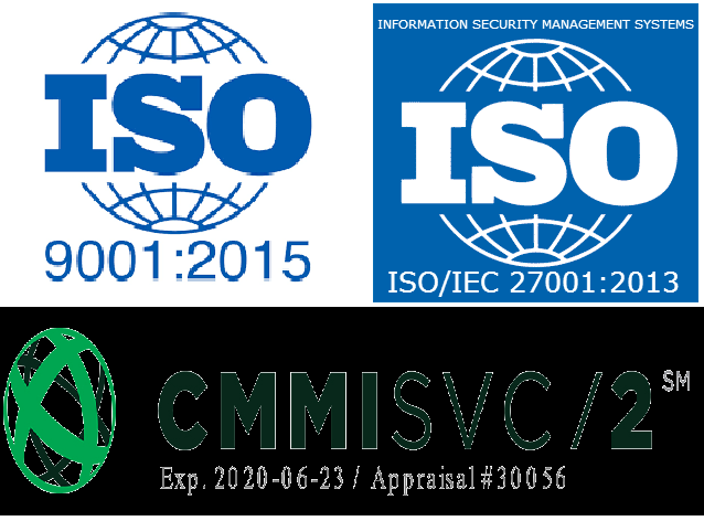 SD Solutions LLC is a ISO 9001:2015, ISO 27001:2013 and CMMI Services v1.3 ML 2 Appraised Organization
