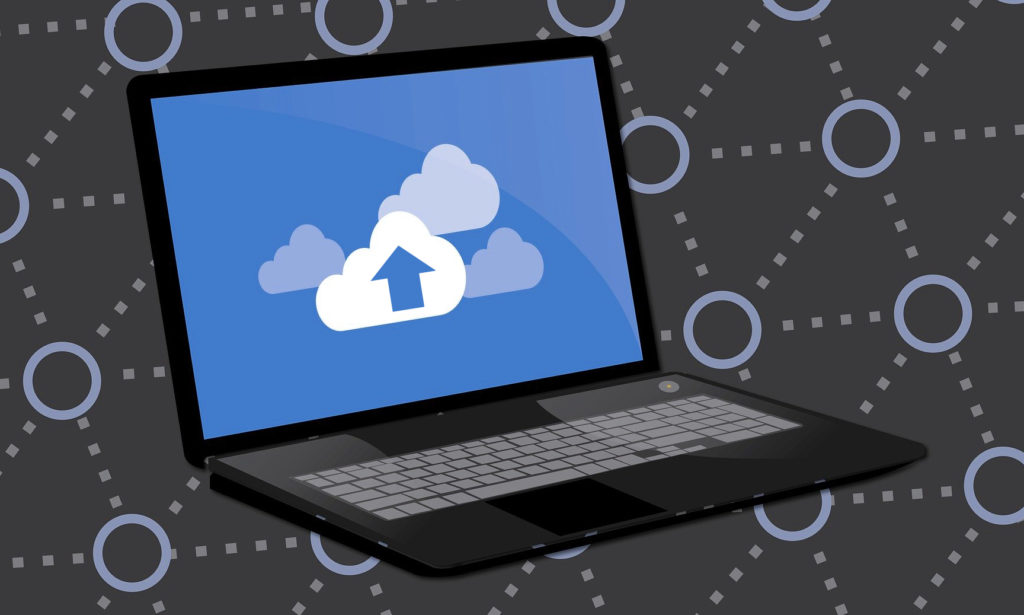 Illustration of Laptop with Cloud service