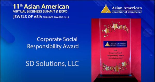 SD Solutions wins Corporate Social Responsibility Award from the Asian American Chamber of Commerce